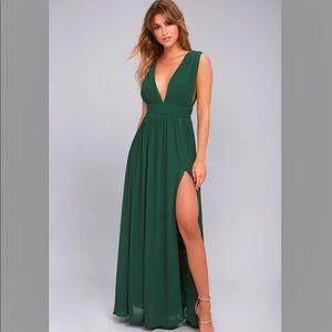 Lulu's Forest Green Maxi Dress